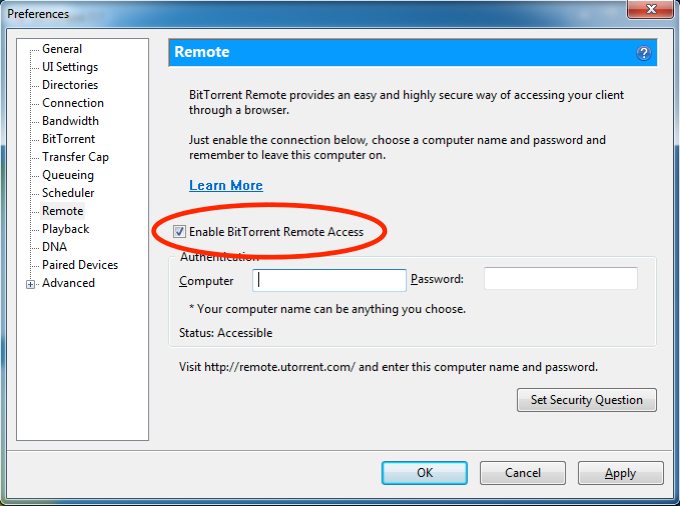 BitTorrent Enable Remote Access in the BitTorrent settings