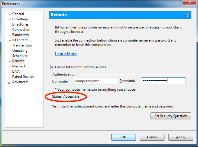 BitTorrent Username and Password for Remote Access in the BitTorrent settings